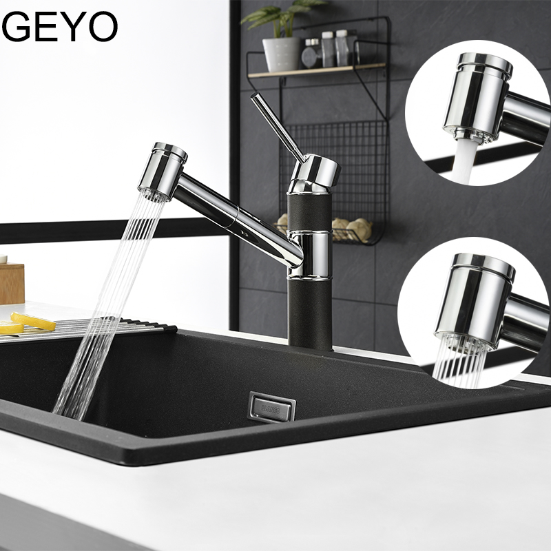 GEYO Kitchen Faucets Chrome Single Handle Pull Out Kitchen Tap Single Hole Handle Water Mixer Tap Bathroom FaucetGEYO Kitchen Faucets Chrome Single Handle Pull Out Kitchen Tap Single Hole Handle Water Mixer Tap Bathroom Faucet