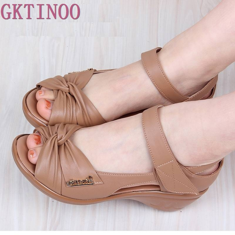 Summer Shoes Woman Genuine Leather Soft Outsole Open Toe Sandals Casual Wedges Women Shoes 2017 New Fashion Women Sandals 2017 gladiator summer shoes woman platform sandals women flats soft leather casual open toe wedges sandals women shoes r18