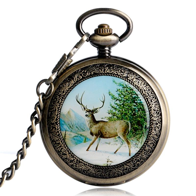 2017 Fashion Brand CAIFU Mechanical Skeleton Clock Retro Walking Elk Deer Hand Winding  Pocket Watch Fob Chain Male Female Gift