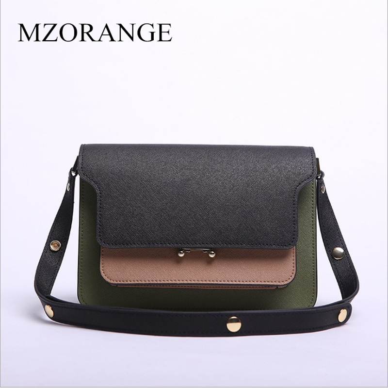 MZORANGE пояса из натуральной кожи женская орган сумка панелями клапаном Сумочка Мода Смешанные цвета дизайн для леди Crossbody сумки на плечо