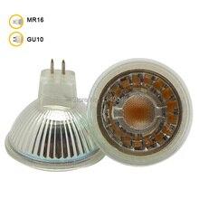 5 Вт MR16 Светодиодный прожектор Стекло body AC/DC12V затемненные COB Светодиодный прожектор лампы теплый белый холодный белый