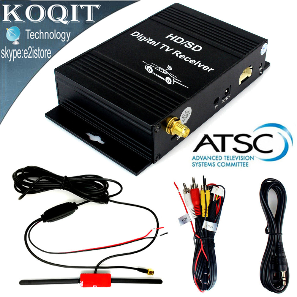 United States HD/SD ATSC Digital Terrestrial Channel Car TV Tuner Receiver 4 Video Out Free View + Car Active Amplifier Antenna 1080p mobile dvb t2 car digital tv receiver real 2 antenna speed up to 160 180km h dvb t2 car tv tuner mpeg4 sd hd