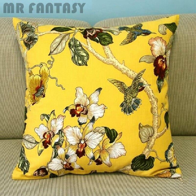 18 Yellow Flowers Throw Pillow Case Birds Cushion Cover Tree Pillowcase Square Waist Pillow Sofa Decor PT176