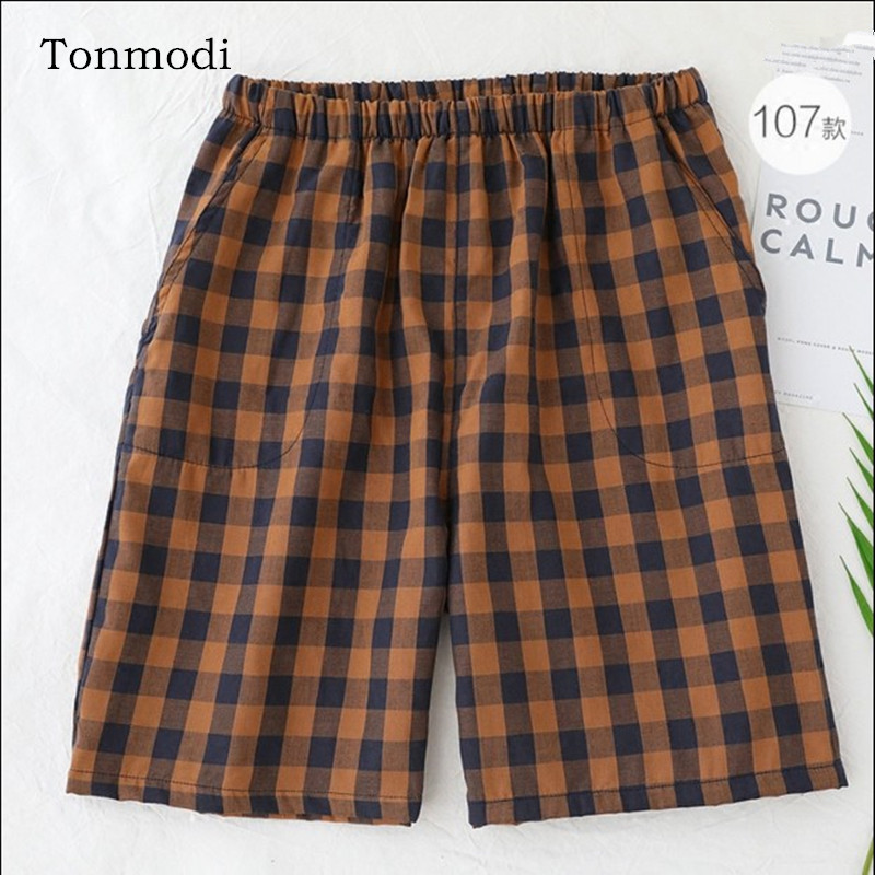 Mens sleep pants short Cotton gauze Plaid Loose Mens pants Sleep Bottoms ...
