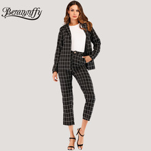 Benuynffy, два предмета, для офиса, леди, в сетку, с длинным рукавом, блейзер и брюки, костюм, черный, элегантный, весна, лето, женская одежда, наборы