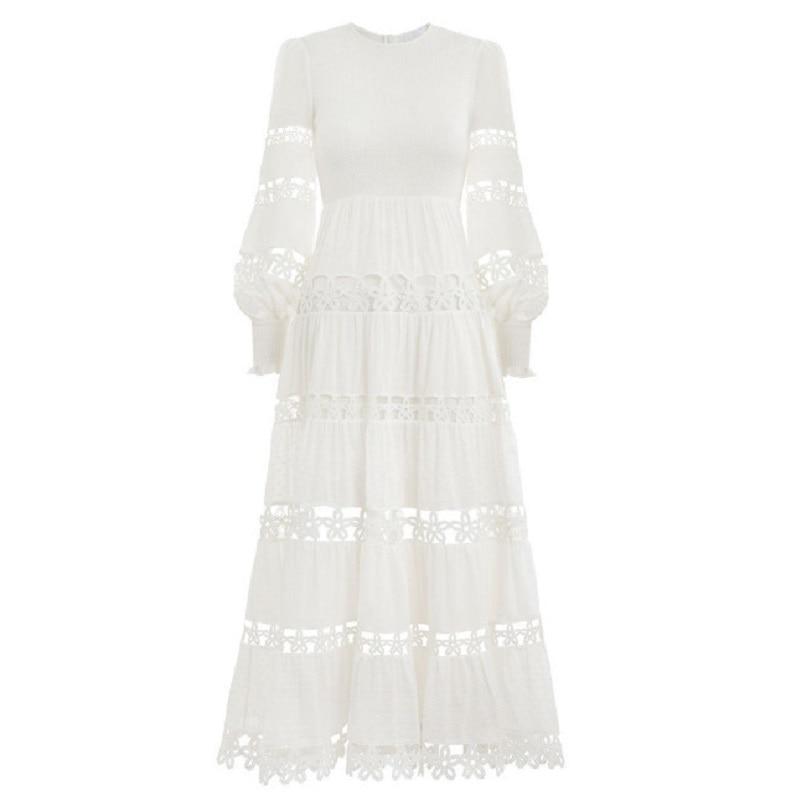 Robes Partie Supérieure Manches 2019 Maxi Printemps Femmes Femelle Qualité Longues Robe À Designer Blanc Vêtements De Évider Vacances wO8aw4