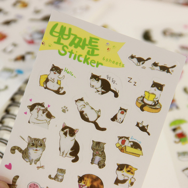 6 PCS/set Korea Creative PVC Cute Cats Transparent Calendar Diary Book Sticker Scrapbook Decoration Stationery