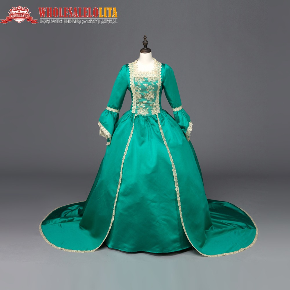 Renaissance Gothic Dress Gown Vampire Reenactment Theater Clothing Halloween Green Bow&Lace Dress Length Dress Plue Size