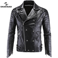 SHANBAO Men PU leather jacket trend skull motorcycle leather plus size casual coats 2017 brand boutique men's Halle leather