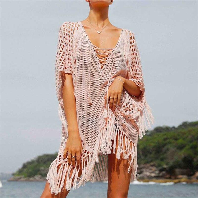 new arrivals sexy beach cover up pink crochet robe de plage pareos for women swim wear saida de