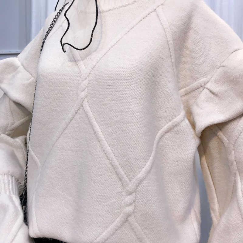 Элегантный вязаный свитер с круглым вырезом и рюшами, женские джемперы с рукавами-бабочками на осень и зиму, повседневные Пуловеры и свитера, Femme 2018