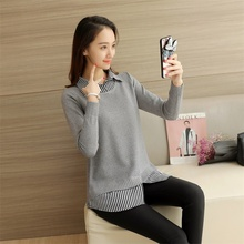 2017 autumn winter loose knitted Sweater women long pullover female pull femme Korean loose women shirt new shirt collar two