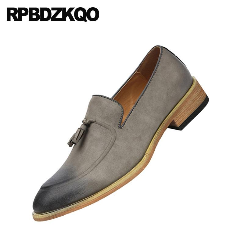 Punta Zapatos Retro Hombres Casuales Estilo Cepillo 2018 brown Mocasines En Slip De azul Negro Primavera Pie Del Gamuza gris Cuero Azul Dedo Borla Oxford Británico Los dRqpOxPwT