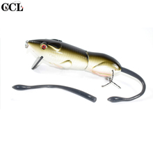 Купить с кэшбэком Big Game Fishing Mouse Bait for Fishing Wobbler 2 jointed Metal Link Fishing Tackle Bait Lure 6inch Hard Body Crank Bait Minnow
