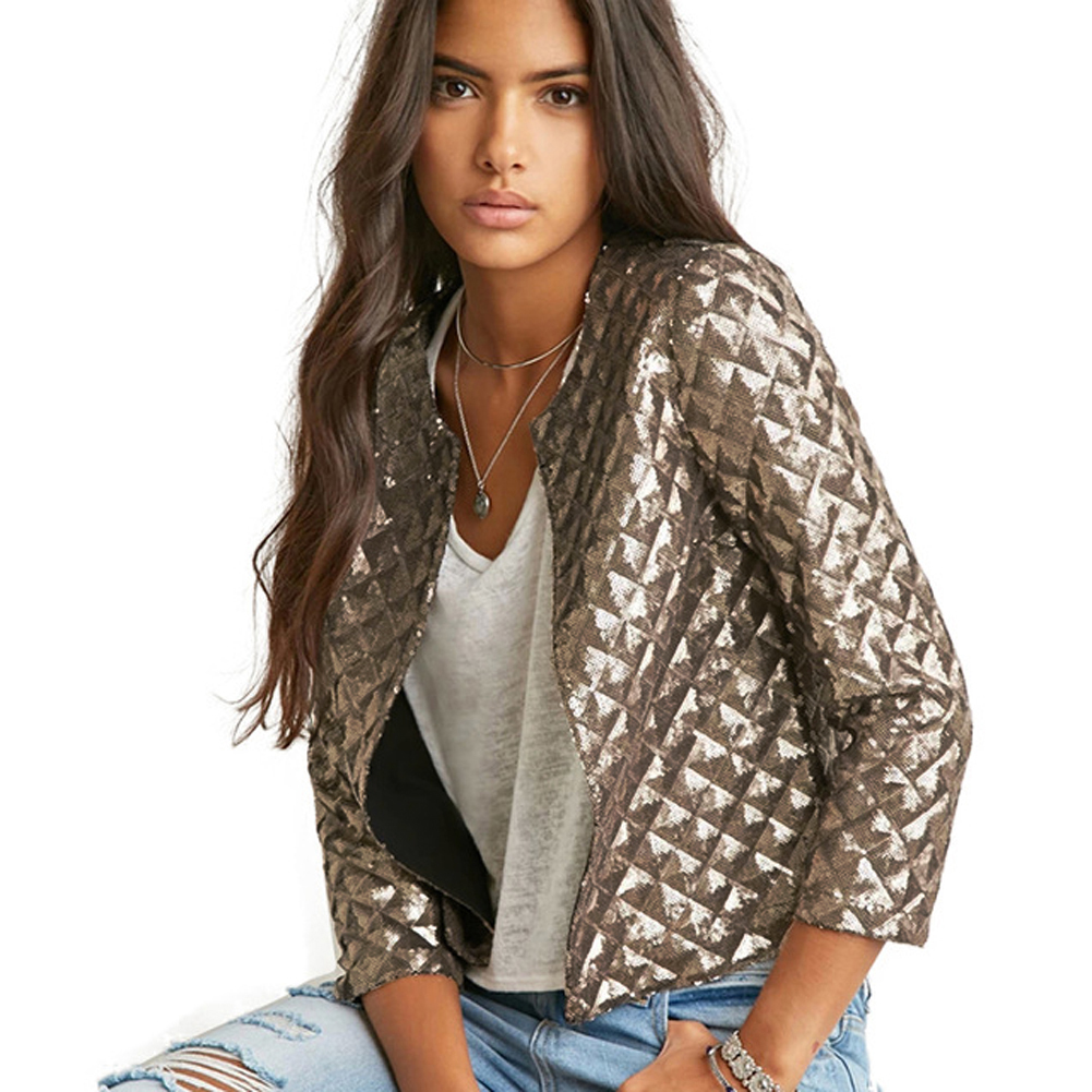 Blazer Women Spring Summer Vogue Lozenge Women Gold Sequins Blazer Jackets Three Quater Sleeve Coats Outwears S-2XL Blazer