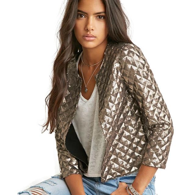 Blazer Women Fashion Tops New Lozenge Women Gold Sequins Jackets Three Quater Sleeve Coats Outwears Wholesize S-2XL DM#6