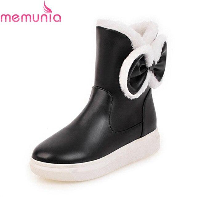 MEMUNIA 2018 mới khởi động đến tuyết vòng ngón chân của phụ nữ khởi động mắt cá chân bướm knot flat với 4 cm gót khởi động nữ mùa đông giày
