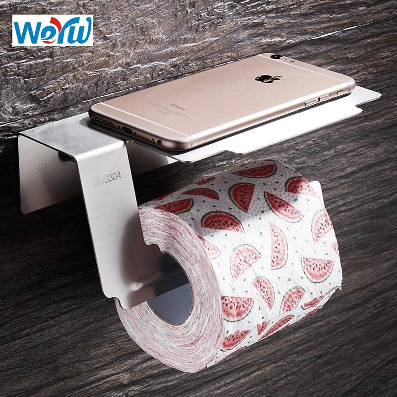 WEYUU 304 Stainless Steel Toilet Paper Holders Wal Mounted Roll Rack Mobile Phone Holder Bathroom Accessories Brushed Nickel