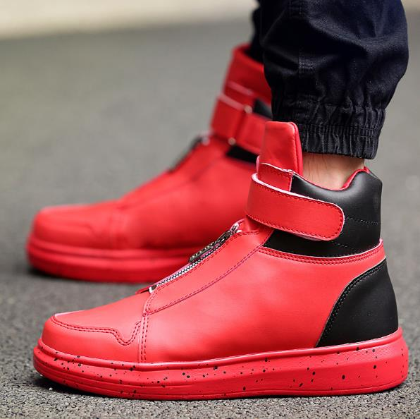1e6fd062ca1d Men Leather Shoes Winter High Top Zipper Design Men Shoes Hip Hop sneakers Mens  kanye west Zapatillas Homme-in Basic Boots from Shoes on Aliexpress.com ...