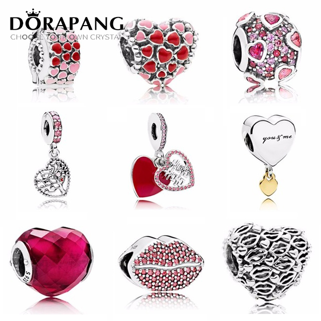 NEW 2018 Valentines Day Newest 925 Sterling Silver Bead Red Lip  Heart shaped Charm for Women Fashion DIY Bracelet BangleNEW 2018 Valentines Day Newest 925 Sterling Silver Bead Red Lip  Heart shaped Charm for Women Fashion DIY Bracelet Bangle
