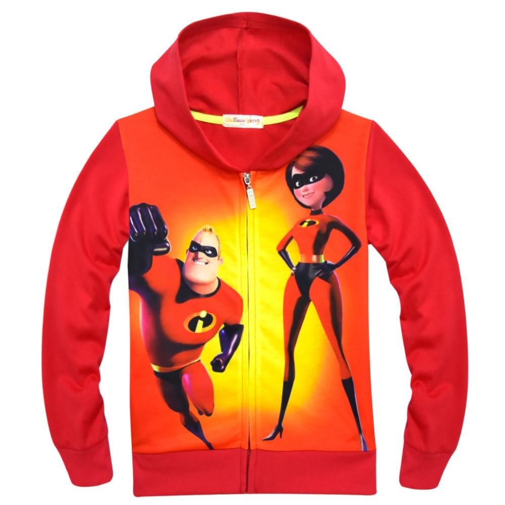 Incredibless Cosplay Costumes Girls Red Hoodies Cosplay Streetwear Pajama Hero Costumes kids Top Zipper Outwears Coat