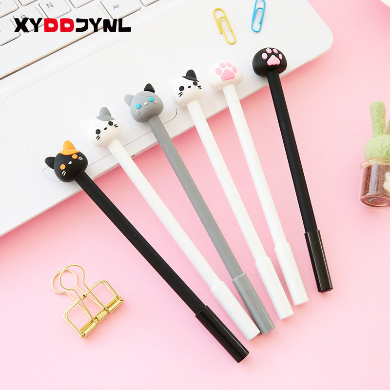 XYDDJYNL 0.5mm Cute Cat Gel Pen papelaria 2pcs Cartoon Kawaii School supplies Student Stationery Black ink Pen