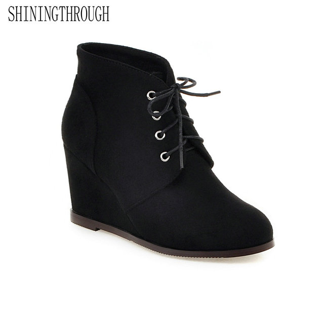 2b734432b261 SHININGTHROUGH Women pu Leather Ankle Boots black blue wedges heel Ladies  Boots plus size 33-43