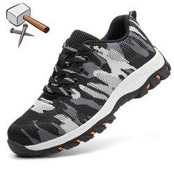 Konstrukcja mężczyzna na zewnątrz Plus rozmiar stalowa nasadka na palec buty robocze buty mężczyźni kamuflaż odporne na przebicie buty ochronne oddychająca