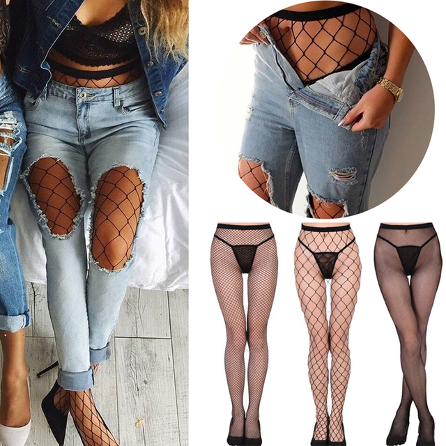 6ca2b46d893 Hollow Out Tights Lace Sexy Stockings Female Thigh High Fishnet Embroidery  Transparent Pantyhose Women Black Lace