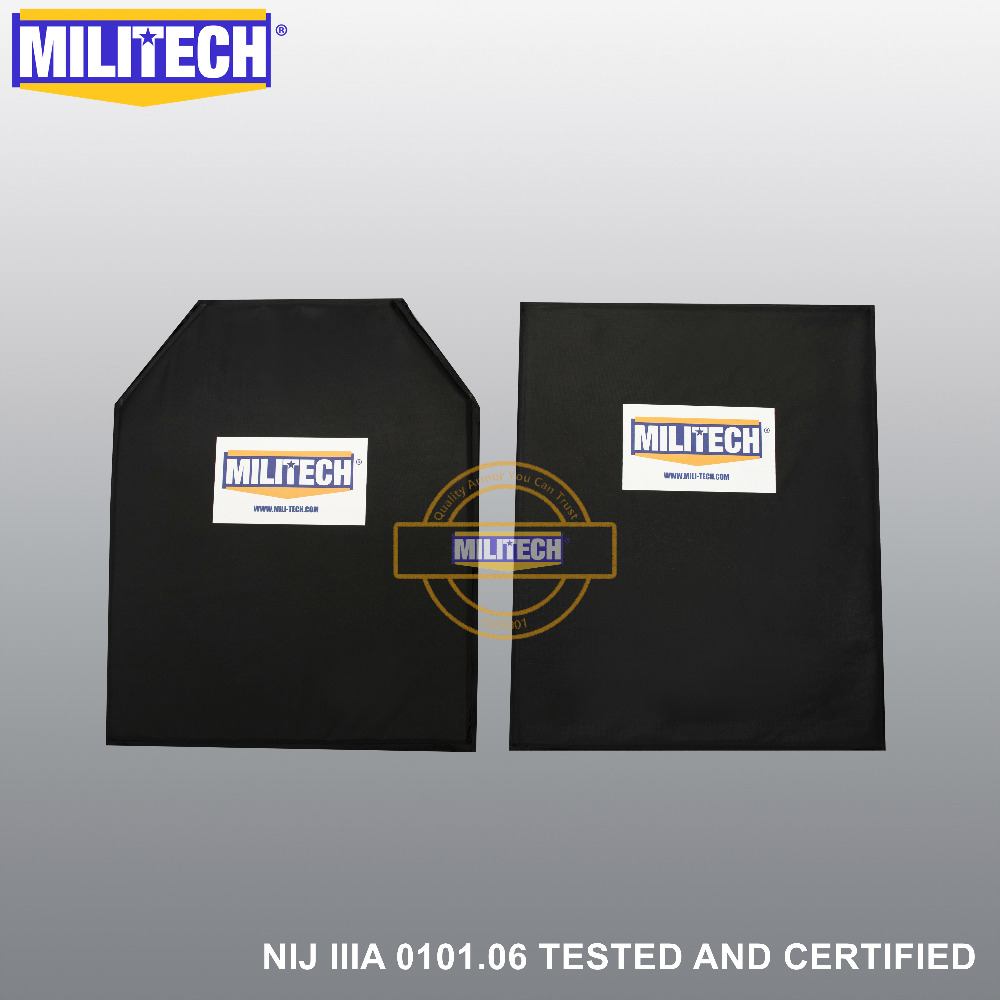 MILITECH NIJ Level IIIA 3A 11'' X 14'' STC & T Cut Aramid Soft Ballistic Panel BulletProof Body Armor Plate Backer Pair Set