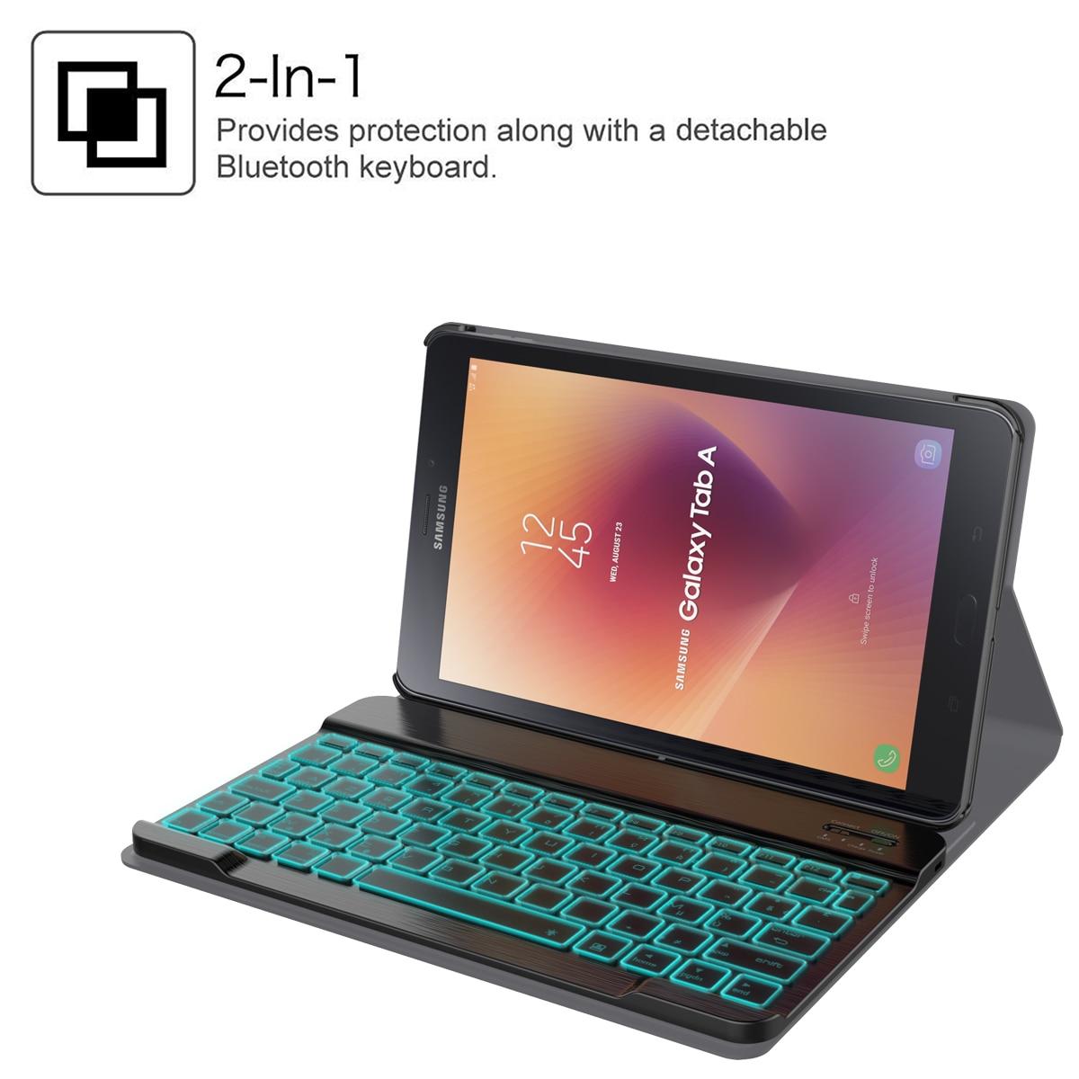 תאורה אחורית עבור Samsung Galaxy Tab 10.5 A2 T595 T590 להפרדת Tablet Bluetooth עם תאורה אחורית אלחוטי עור מקלדת המקרה הייחודי Stripe (4)