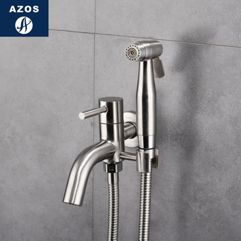 Azos Bidet Faucet Pressurized Shower Nozzle Stainless Steel Stainless Steel Cold Water Two Function Washing Machine Wash Balcony