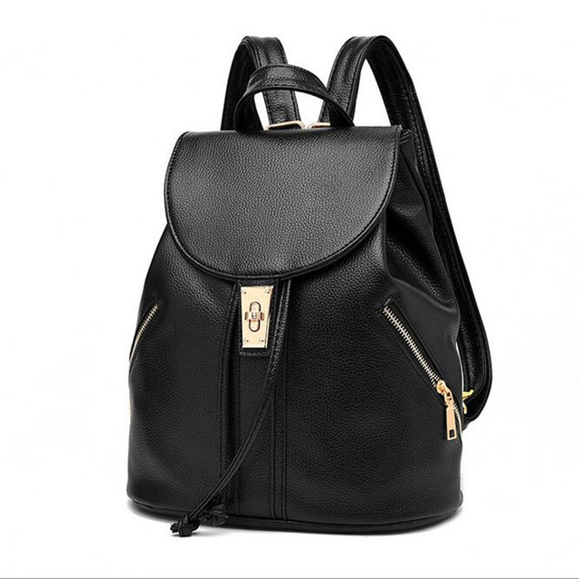 Крутой Уокер мода прекрасный черный кожзаменитель женские кожаный рюкзак  школьный мешок женские дорожные сумки высокого качества cef9a8a0ae2