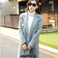 Fashion 2017 Autumn Winter Women S Coat Small Cute Embroidery Long Section Wool Women Coat Jacket