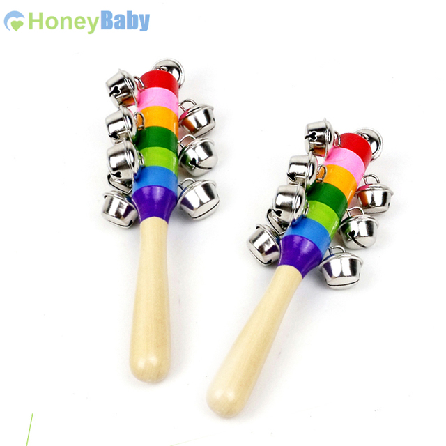 Colorful Newborn Rattles Wooden Baby Hand Bell