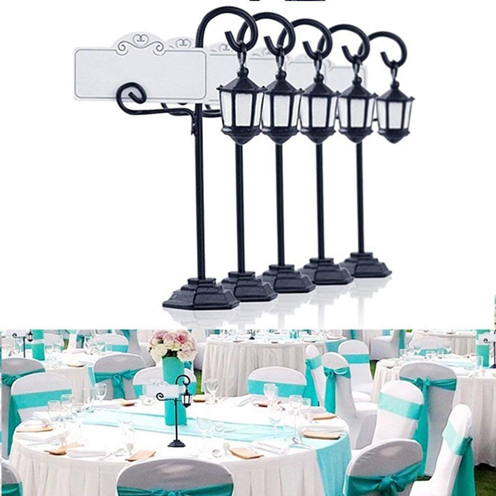 5 PCS Streetlight Shape Wedding Party Reception Place Card Holder Number Name Table Menu Picture Photo Clip Card Holder Stand