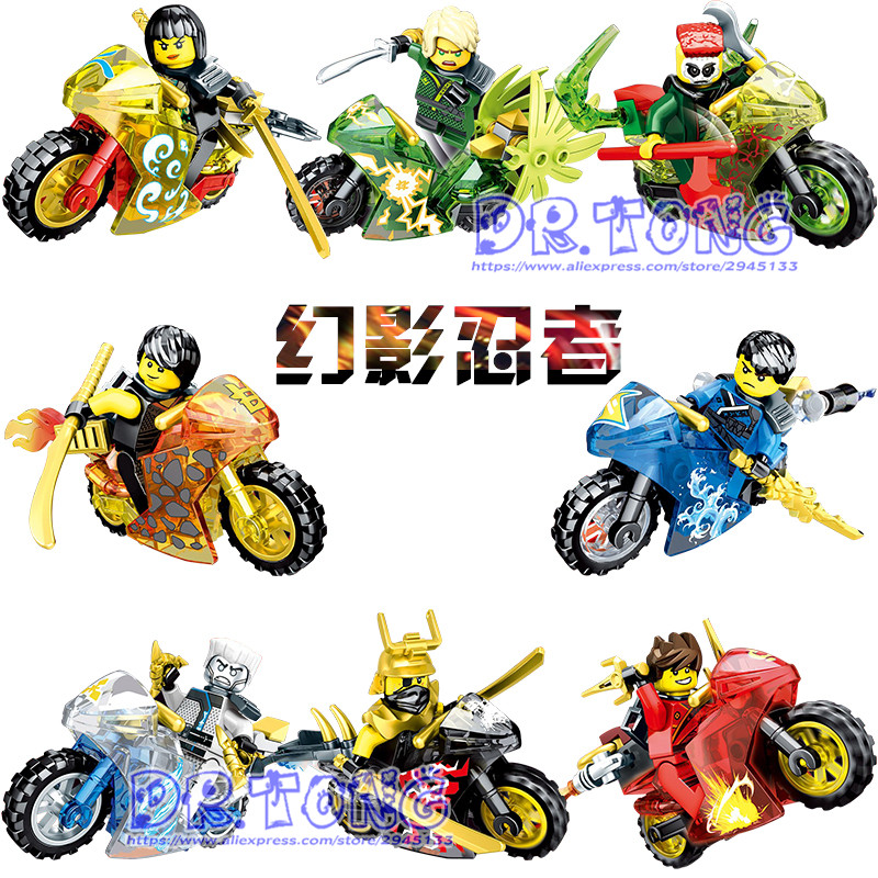 80pcs/lot Ninja Figures Kai Jay Zane Cole Lloyd Carmadon With Tornado Crystal Motorcycle Ninja Building Blocks Figure Toys Sy696 2017 hot golden ninja go double head dragon knights building block mini kai zane cole jay figures weapons bricks toys for boys