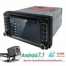 2DIN SWC DVR Android 7.1 4 core 2 г Оперативная память dvd-плеер автомобиля для Toyota Hilux Vios старый Camry Прадо RAV4 Prado 2003-2008 4 г сети LTE