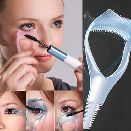 2015 Most Popular 3 in 1 Mascara Shield Guard Eyelash Comb Applicator Guide Card Makeup Tool 8CZ9
