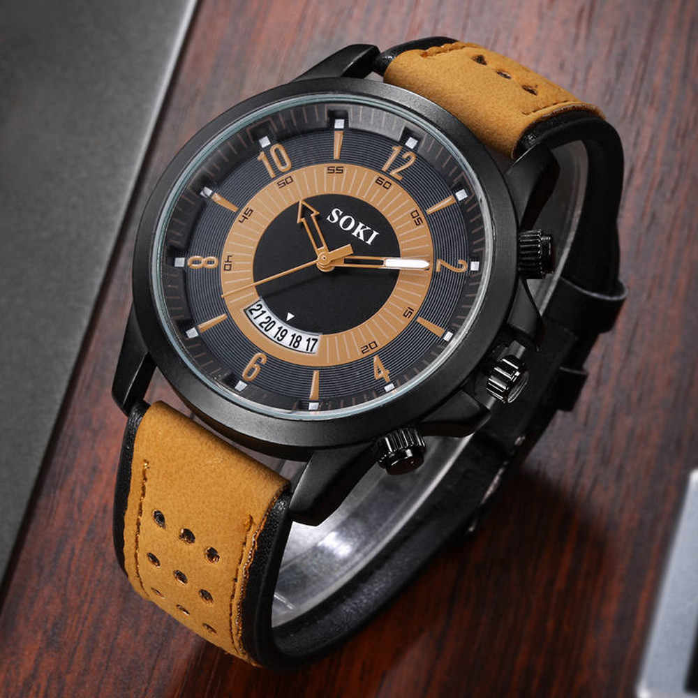 Men Watches 2019 Fashion Silica Gel Leather Band Mens Glass Quartz Analog Date Wrist Watch Creative Mens Clock