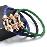 Leather Rope Bransoletka Tyme podkowa Charm ze stali nierdzewnej Carter miłość bransoletki i bangles dla kobiet H Bransoletka Mężczyzn Biżuteria