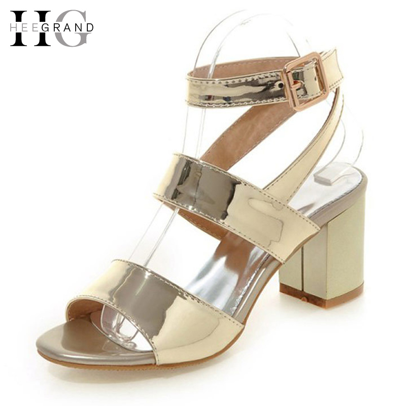 HEE GRAND Gold Silver High Heels 2017 Summer Gladiator Sandals Sexy Platform Shoes Woman Casual Shoes Size 35-43 XWZ4075 2017 gladiator sandals summer platform shoes woman gold silver flats buckle women shoes fashion creepers xwz6816