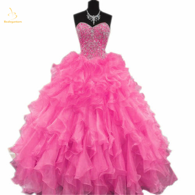 3000703e0d Bealegantom Fuchsia Quinceanera Dress 2018 Beaded Sweetheart Ball Gown Lace  Up Back For 15 Years Vestidos De 15 Anos QA1409