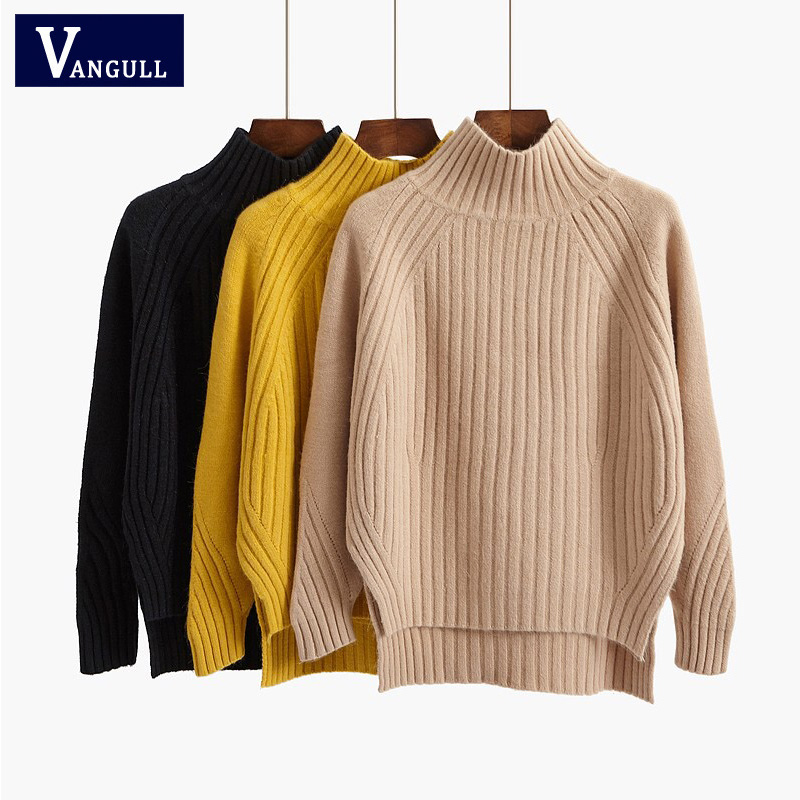 Vangull Turtleneck Women Sweater Winter Warm Female Jumper Thick Christmas Sweaters Ribbed Knitted Pullover Top Pull Hiver Femme
