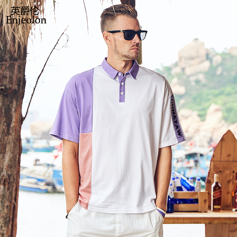 Enjeolon Brand Summer   Polo   Shirt Short Sleeved Turn Down Collar 100% Cotton Contrast Color Male Top Shirt T5215