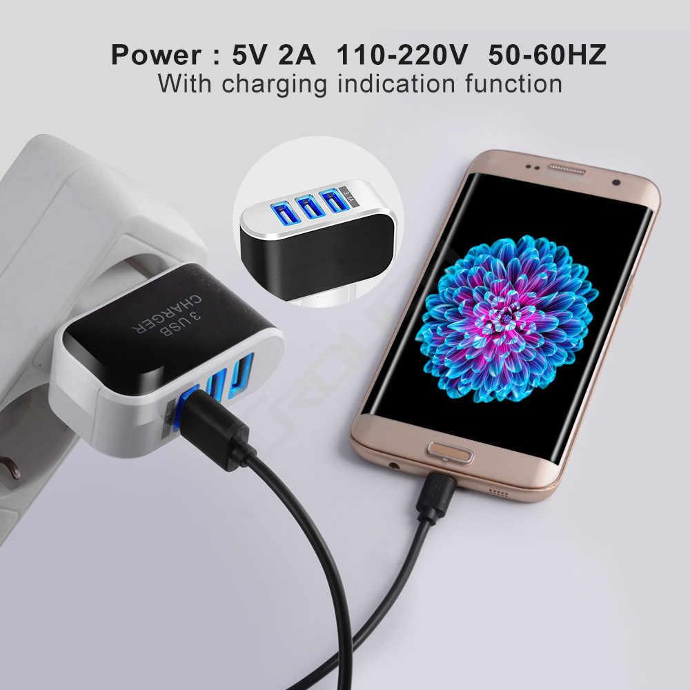 Cục Sạc 3 Cổng USB Sạc Cho iPhone Di Động Phích Cắm EU 5V2A Điện Thoại Di Động Sạc Adapter Cáp Micro USB Cho Samsung xiaomi LG