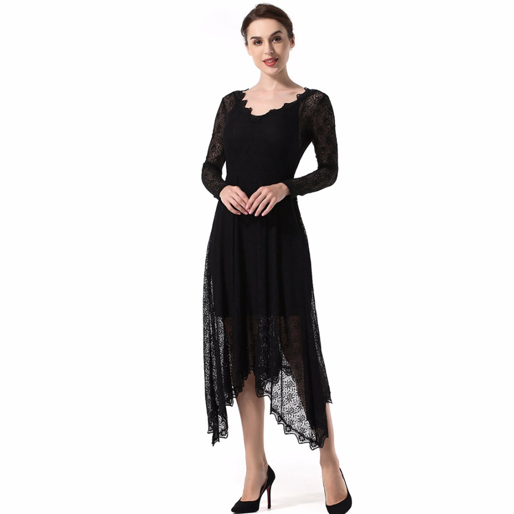 High Quality New Spring Euramerican Fashion Women Sexy Lace irregular Dress Female Embroidery Backless Long Party Formal Dresses in Dresses from Women 39 s Clothing