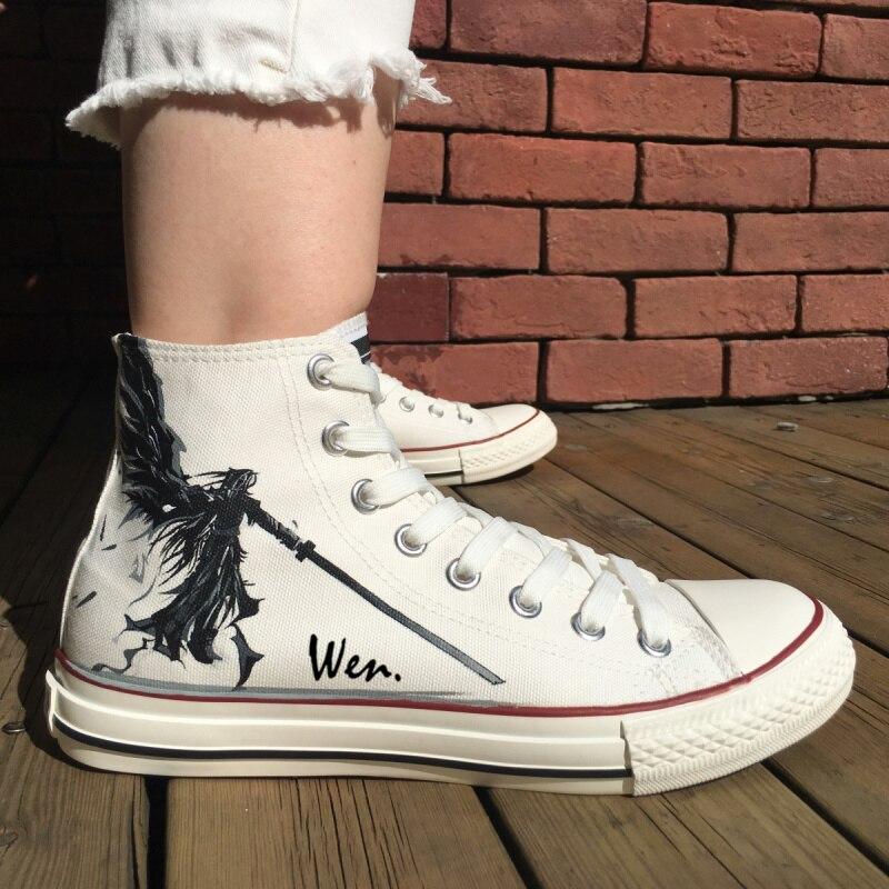 e568db515 ون اليد رسمت أحذية تصميم مخصص النهائي الخيال رجل المرأة خلفية بيضاء عالية  أعلى قماش أحذية رياضية ل الرجل هدايا
