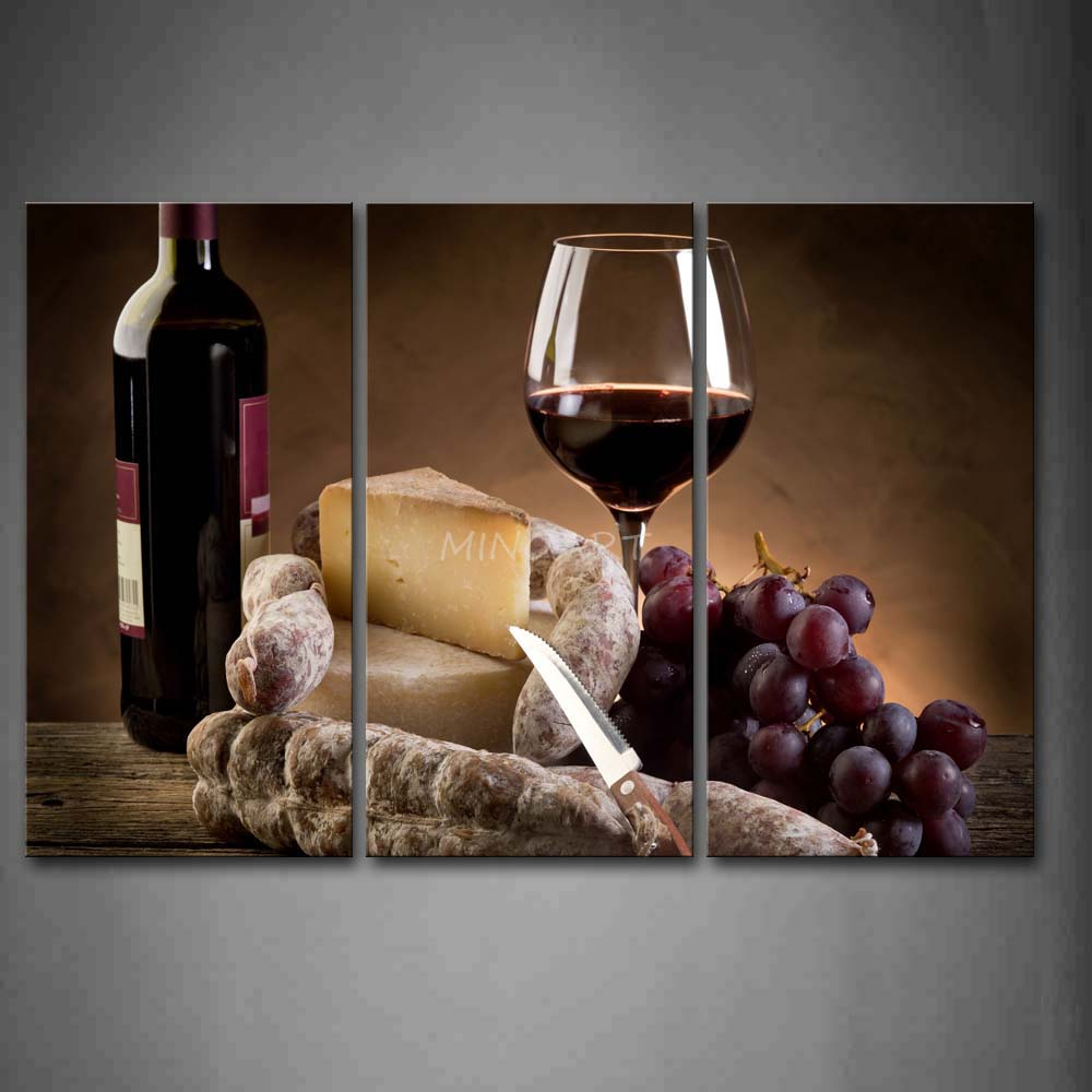 3 Piece Wall Art Painting Grape Wine With Cheese And font b Knife b font Print