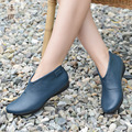 genuine leather women boots flat handmade round shoes leisure leather boots vintage British style 41 42 43 women shoes